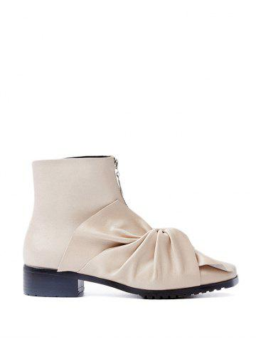 Hot Zipper Bow Pointed Toe Ankle Boots
