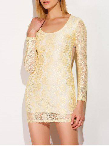 New Mini Lace Sheer Long Sleeve Bodycon Dress YELLOW XL