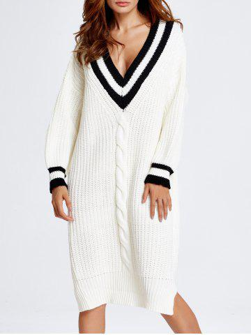 Cable Knit Cricket Midi Jumper Dress - White - One Size