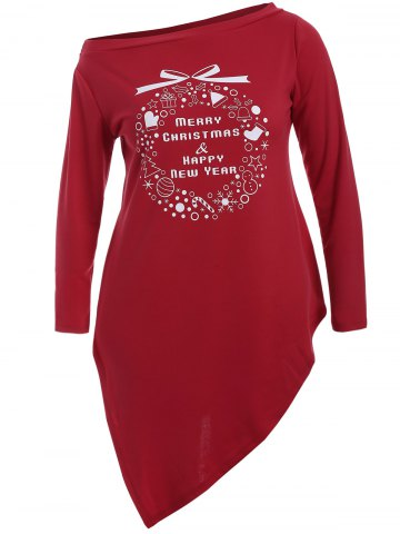 Christmas Graphic Longline Tee - RED 5XL