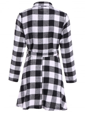 Cheap Flannel Check Belted Shirt Dress - M WHITE AND BLACK Mobile
