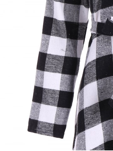 Trendy Flannel Check Belted Shirt Dress - M WHITE AND BLACK Mobile