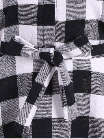 Buy Flannel Check Belted Shirt Dress - M WHITE AND BLACK Mobile