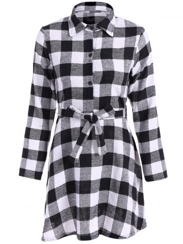 Fashion Flannel Check Belted Shirt Dress - M WHITE AND BLACK Mobile