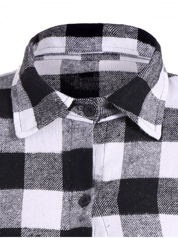 Online Flannel Check Belted Shirt Dress - M WHITE AND BLACK Mobile