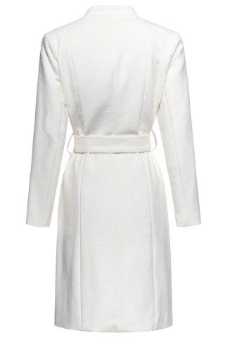Hot Stand Neck Belted Woolen Coat - S OFF-WHITE Mobile