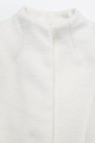 Best Stand Neck Belted Woolen Coat - S OFF-WHITE Mobile
