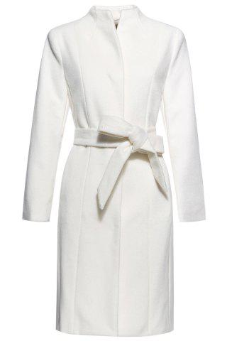 Affordable Stand Neck Belted Woolen Coat OFF WHITE S