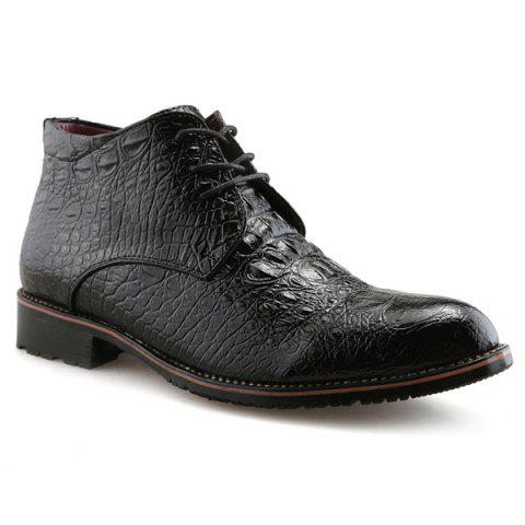 Unique Tie Up PU Leather Embossed Boots BLACK 43