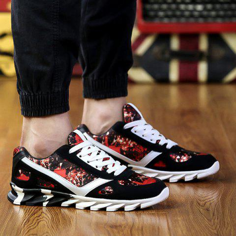 Trendy Colour Spliced Print Tie Up Athletic Shoes