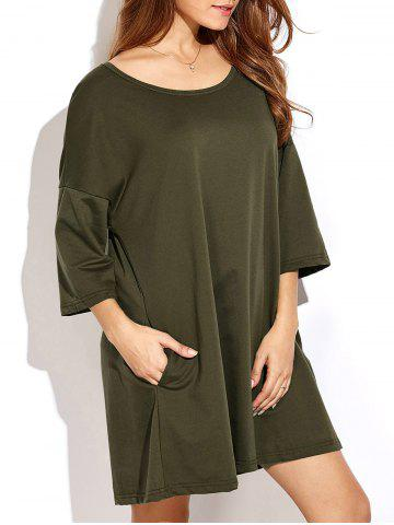 Online Slightly High Low Hem Relaxed T Shirt Dress ARMY GREEN 2XL