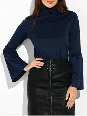 Outfit Flare Sleeves Turtleneck T-Shirt PURPLISH BLUE L