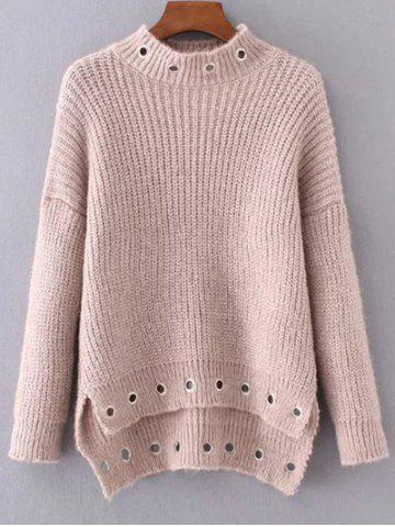 Best Ring Embellished High Low Ribbed Sweater