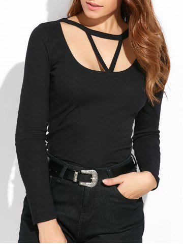 Sale Scoop Neck Long Sleeve Strappy T-Shirt BLACK 2XL