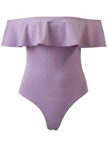 Store High Cut Off The Shoulder Bodysuit With Frill PURPLE L