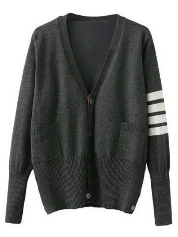 Buy Single Breasted Striped Sleeve Cardigan GRAY XL