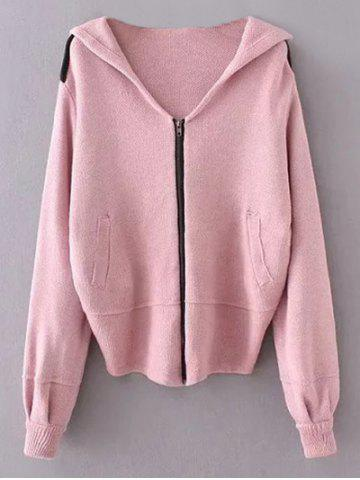 Discount Hooded Zippered Cardigan
