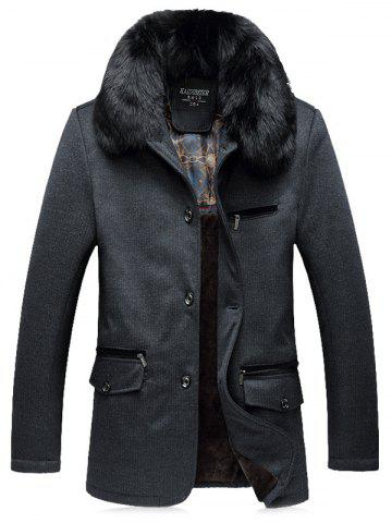 Outfit Faux Fur Collar Thicken Single Breasted Flocking Quilted Jacket GRAY 5XL