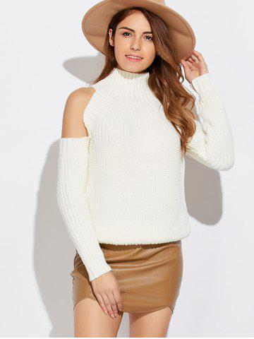 Funnel Neck Cold Shoulder Sweater - White - One Size