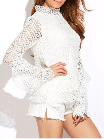 Best Stand Neck Bell Sleeve Hollow Out Blouse WHITE 2XL