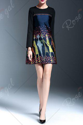 Discount Embroidered Panel A Line Dress - L FLORAL Mobile