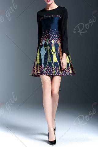 Chic Embroidered Panel A Line Dress - L FLORAL Mobile