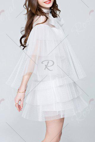 Discount Mesh Pleated See Through Tiered Dress - L WHITE Mobile
