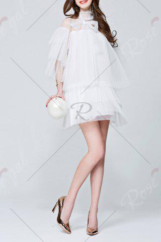 New Mesh Pleated See Through Tiered Dress - L WHITE Mobile