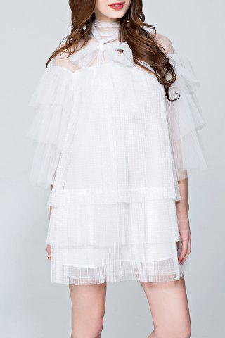 Mesh Pleated See Through Tiered Dress - White - L