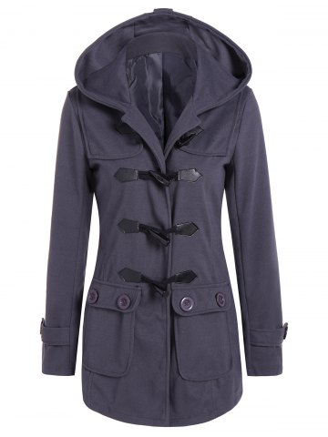 Hooded Flap Pockets Duffle Coat - Gray - L