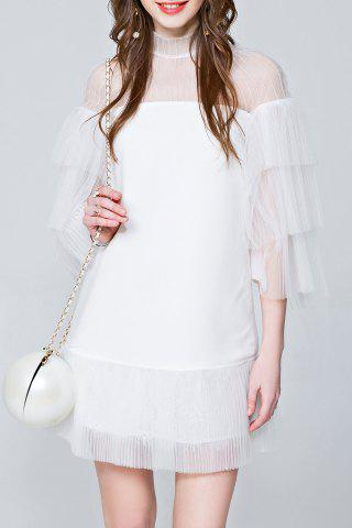 Affordable Mini See Through Tiered Dress - S WHITE Mobile