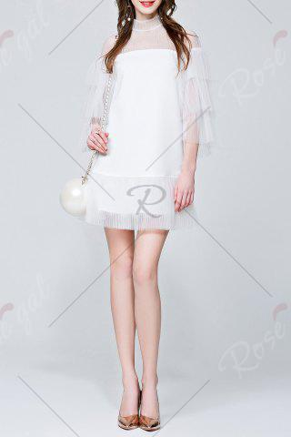Trendy Mini See Through Tiered Dress - S WHITE Mobile