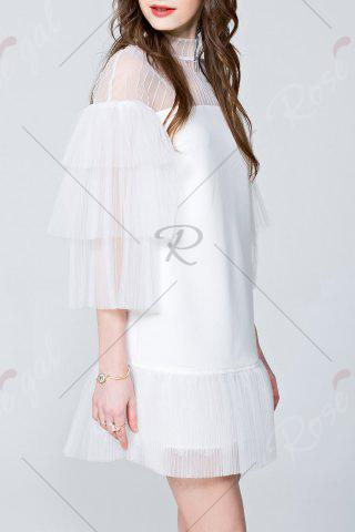 Fancy Mini See Through Tiered Dress - S WHITE Mobile