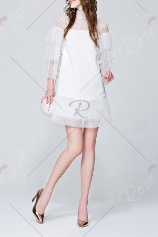 Buy Mini See Through Tiered Dress - S WHITE Mobile