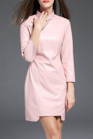 Affordable PU Leather Mandarin Collar Mini Dress PINK M