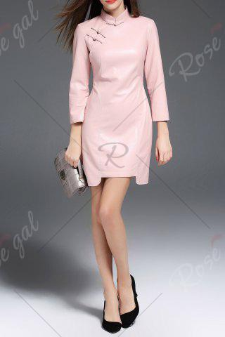 Buy PU Leather Mandarin Collar Mini Dress - M PINK Mobile