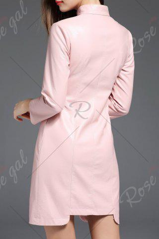 Fancy PU Leather Mandarin Collar Mini Dress - M PINK Mobile