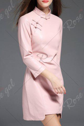 Trendy PU Leather Mandarin Collar Mini Dress - M PINK Mobile
