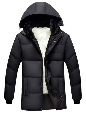 Chic Hooded Plus Size Thicken Flocking Zip Up Down Coat