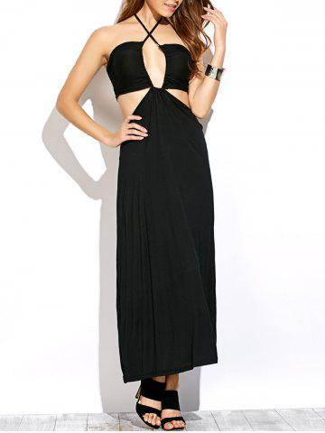 Unique Halter Neck Cut Out Sleeveless Long Dress