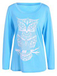 Owl Pattern Scoop Neck Tee - AZURE XL