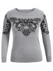 Plus Size Printed Sweater - GRAY 5XL