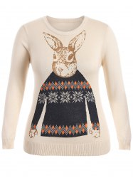 Rabbit Pattern Cute Plus Size Sweater - APRICOT