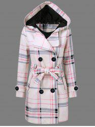 Tie Belt Hooded Plaid Woolen Coat - CHECKED
