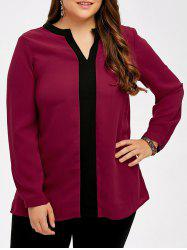 Plus Size Contrast Trim Blouse