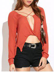 Asymmetric Criss Cross Loose Blouse