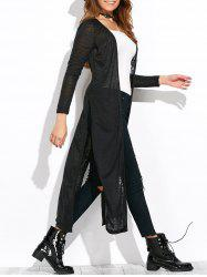 Open Knit Side Slit Duster Cardigan - BLACK