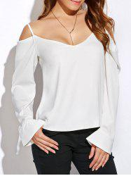 V Neck Long Sleeve Cold Shoulder Top
