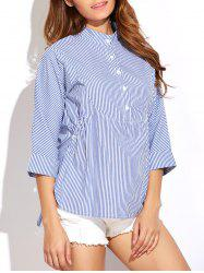 3/4 Sleeve Striped Blouse - BLUE AND WHITE 2XL