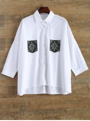 Oversized Embroidery Pocket Shirt -
